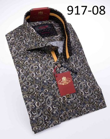 Axxess Party Shirts High Collar Mens Green Paisley No Tuck 917-08 Size L, 2XL