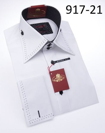 Axxess Shirts High Collar Mens White Black Stitch Club Shirt 917-21 - click to enlarge