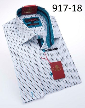 Axxess Shirts High Collar Mens White Teal Dot Button Down Shirt 917-18 - click to enlarge