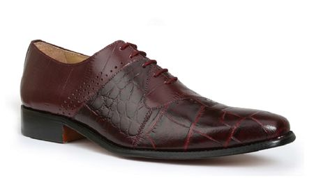 Giorgio Brutini Mens Burgundy Gator Print Leather Dress Shoes 200187 IS  - click to enlarge