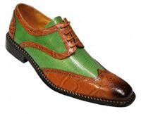 Liberty Mens Rust Green Two Tone Leather Dress Shoes 827