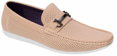 Montique Men's Tan Metal Bit Perforated Casual Loafers S45 - click to enlarge