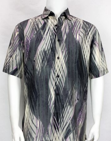 Bassiri Mens Black Grey Lavender Pattern Short Sleeve Shirt 3885 - click to enlarge