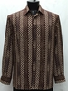 Bassiri Mens Long Sleeve Brown Pattern Casual Fashion Shirt 6038