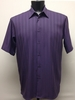 Bassiri Mens Short Sleeve Plum Microfiber Shirt 48271