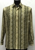 Bassiri Mens  Long Sleeve Taupe Pattern Casual Fashion Shirt 6042