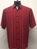 Bassiri Mens Short Sleeve Red Pattern Microfiber Shirt 3779