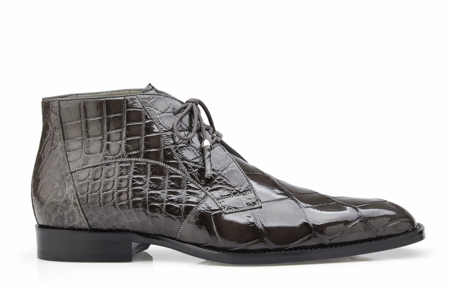 Belvedere Mens Gray Alligator Dress Boots Stefano - click to enlarge
