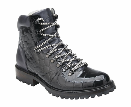 Belvedere Real Black Alligator Hiking Boot Damian - click to enlarge