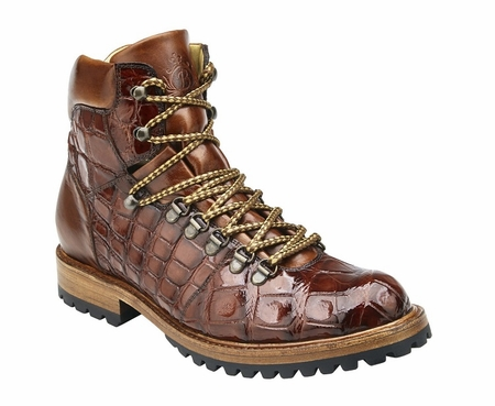 Belvedere Peanunt Tan Alligator Hiking Boot Damian - click to enlarge