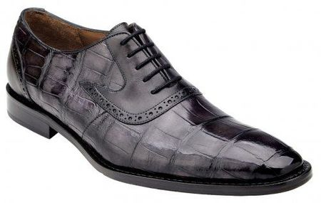 Belvedere Alligator Shoes Men Charcoal Gray Walter - click to enlarge