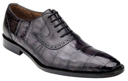 Belvedere Alligator Shoes Men Charcoal Gray Walter