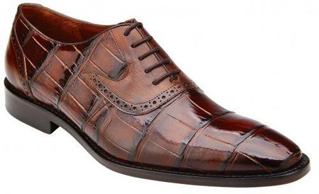 Belvedere Alligator Shoes Men Tobacco Brown Walter