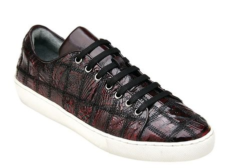 Belvedere Black Cherry Crocodile Patchwork Sneaker Santo - click to enlarge