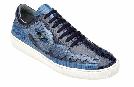 Belvedere Blue Crocodile Lizard Sneakers Corona - click to enlarge