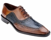Belvedere Blue Tan Crocodile Shoes Bartolo Size 8 Final Sale
