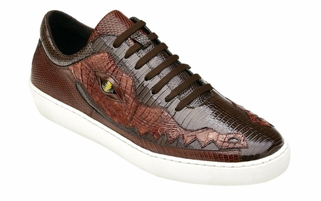 Belvedere Brown Crocodile Lizard Sneakers Corona - click to enlarge