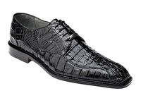 Belvedere Chapo Mens Black Crocodile Lace Up Shoes 1465