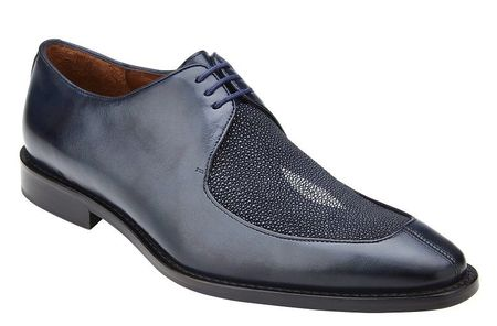 Belvedere Dress Shoes Men's Navy Stingray Split Toe Mario - click to enlarge