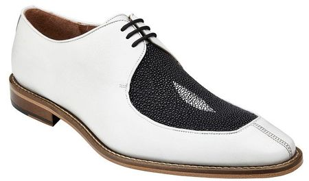 Belvedere Dress Shoes Men's White Stingray Split Toe Mario - click to enlarge
