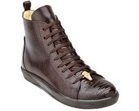 Belvedere Exotic Sneaker Mens Brown Ostrich Toe High Top Elio