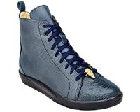 Belvedere Exotic Sneaker Mens Navy Blue Ostrich Toe High Top Elio