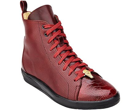 Belvedere Exotic Sneaker Mens Red Ostrich Toe High Top Elio - click to enlarge