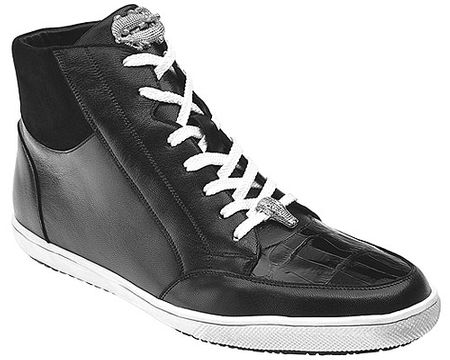 Belvedere Exotic Sneakers Mens Black Crocodile Toe High Top Franco - click to enlarge