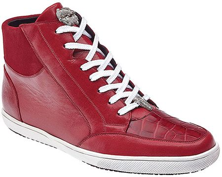 Belvedere Exotic Sneakers Mens Red Crocodile Toe High Top Franco - click to enlarge
