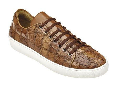 Belvedere Honey Brown Crocodile Tennis Sneaker Santo - click to enlarge