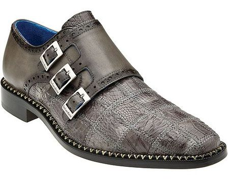 Belvedere Gray Crocodile Patch Monk Strap Shoes Hurricane - click to enlarge
