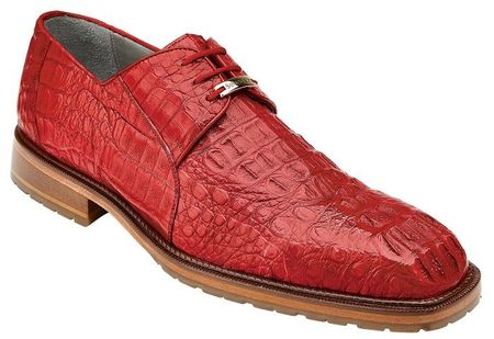Belvedere Men's Red Crocodile Shoes Casual Lace Up Coppola - click to enlarge