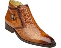 Belvedere Men's Tan Ostrich Skin Ankle Boot Gregg