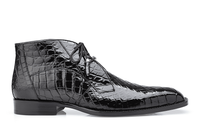 Belvedere Mens Black Alligator Dress Boots Stefano
