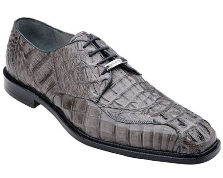 Belvedere Mens Gray Real Crocodile Skin Shoes Chapo 1465 - click to enlarge