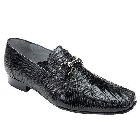 Belvedere Mens Black Crocodile Top Stitched Loafers Italo 1010 - click to enlarge
