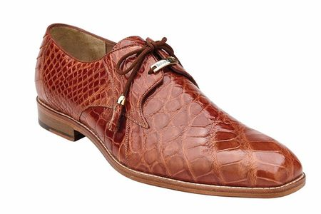 Belvedere Alligator Shoes Mens Brandy Italian Lace Up Lago