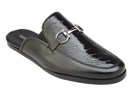 Belvedere Shoes Mens Black Ostrich Skin Slide Ray - click to enlarge