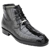 Belvedere Mens Black Hornback Crocodile Ostrich Boots Barone