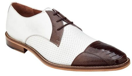 Belvedere Brown White Ostrich Cap Toe Shoes Monaco - click to enlarge