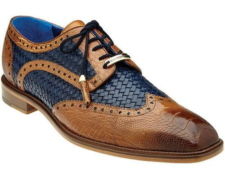 Belvedere Tan Blue Ostrich Woven Wingtip Gerry - click to enlarge