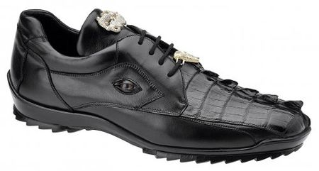 Belvedere Mens Black Eyes Hornback Crocodile Sneaker Vasco 336122 - click to enlarge