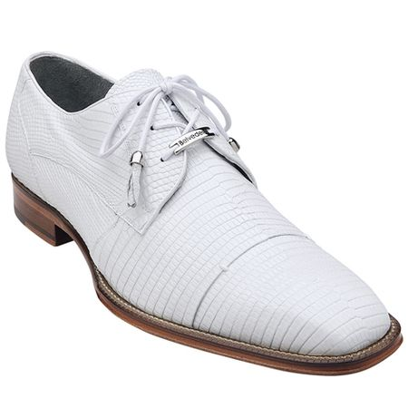 Belvedere Mens White Genuine Lizard Skin Shoes Karmelo 1497 - click to enlarge