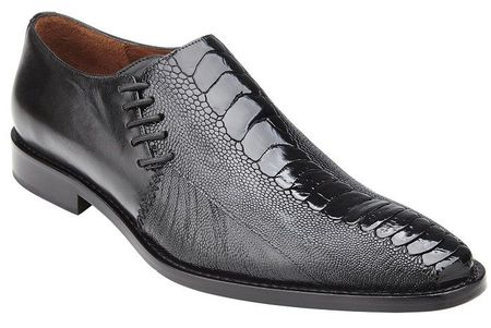 Belvedere Men's Shoes Black Ostrich Side Lace Savanna - click to enlarge