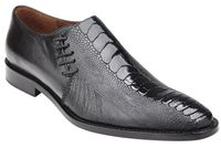 Belvedere Men's Shoes Black Ostrich Side Lace Savanna