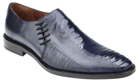 Belvedere Men's Shoes Navy Blue Ostrich Side Lace Savanna - click to enlarge