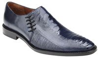Belvedere Men's Shoes Navy Blue Ostrich Side Lace Savanna
