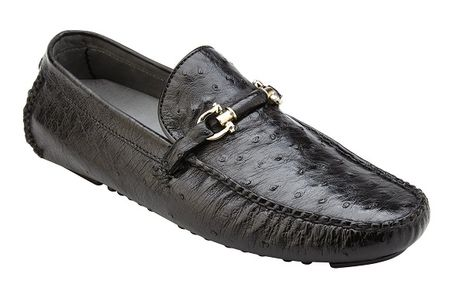 Belvedere Ostrich Shoes Mens Black Driver Slip On Omar 50V - click to enlarge