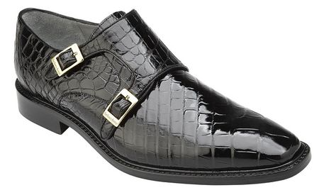 Belvedere Alligator Shoes Mens Black Double Monk Strap Oscar