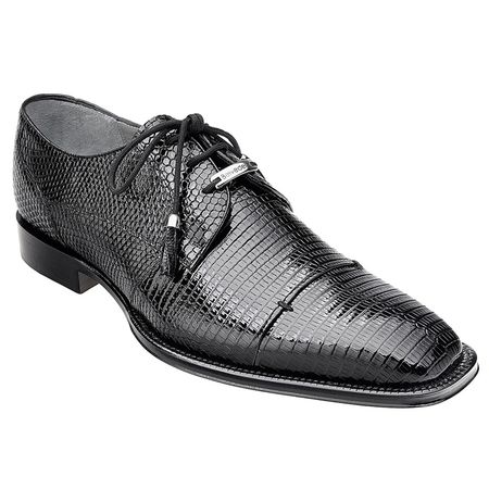 Belvedere Karmelo Black Full Lizard Skin Exotic Shoes - click to enlarge